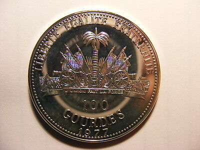 Haiti 100 Gourdes, 1977, Silver Uncirculated, very rare MINTAGE ONLY 321!!