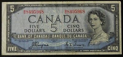 Scarce 1954 Bank of Canada $5 Note Coyne/Towers Devil's Face