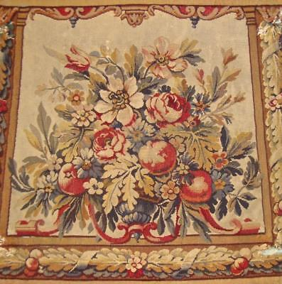 EXQUISITE 19th CENTURY FRENCH FINE HAND WOVEN AUBUSSON TAPESTRY c1850 ROSES