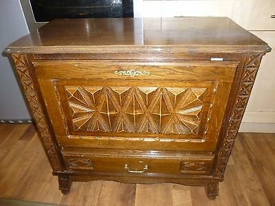vintage french hand carved oak cabinet with one drawer