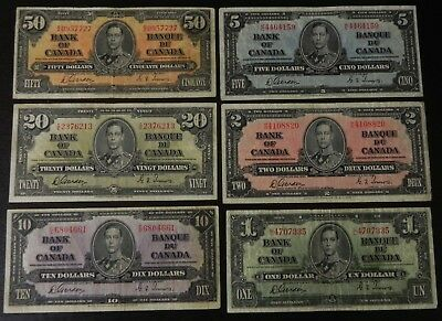 Beautiful & Scarce set of 6 1937 Bank of Canada Notes All Gordon/Towers