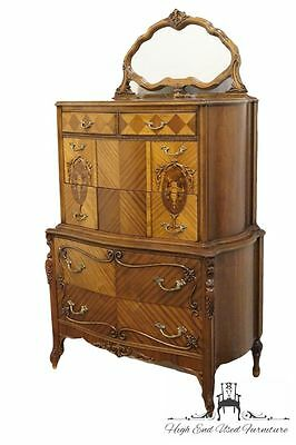 1920's Antique French Regency Floral Marquetry 41″ Chest on Chest