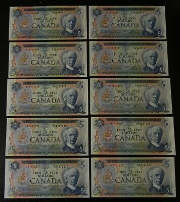 Awsome Group of 10 1972 Bank of Canada $5 Notes