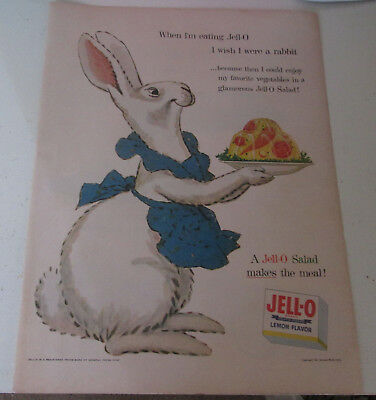1954 original ad Jello Gelatin cute Rabbit