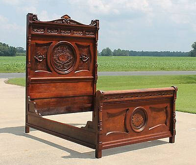 Victorian Aesthetic Highly Carved Walnut & Burl High Back Full Size Bed c1880