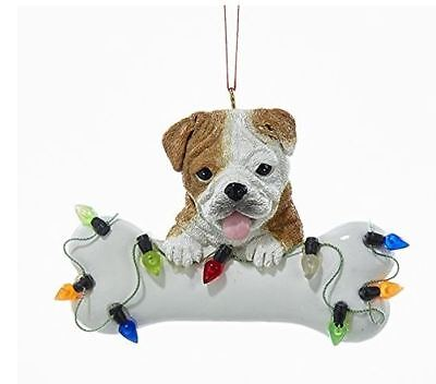 Bulldog Puppy with Large Bone and Christmas Lights Ornament Dog Pet A1680BD New