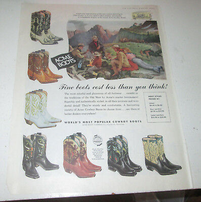1957 original ad Acme Cowboy Boots Western Couples Around Campfire