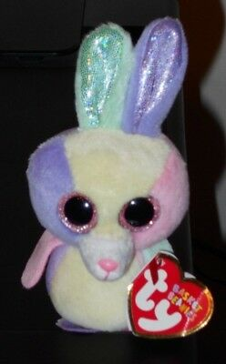 "CT* Ty Basket Beanie Baby ~ BLOOM the 4"" Bunny Rabbit ~ MINT with CREASED TAG"