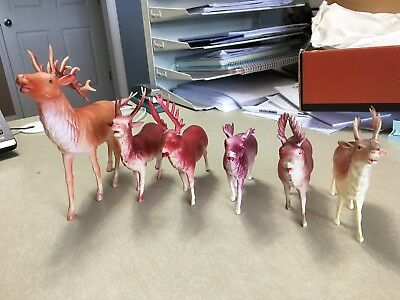 Lot of Antique plastic deer