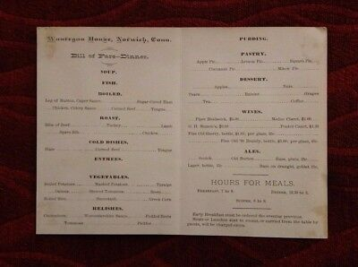 Vintage Menu WAUKEGAN HOUSE Hotel Restaurant Norwich CT Dinner Bill of Fare