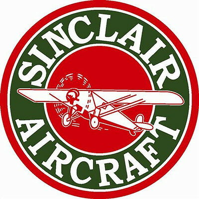 "Sinclair Aircraft Airplane Gas Large 25.5"" Round Metal Steel Sign Aviation"