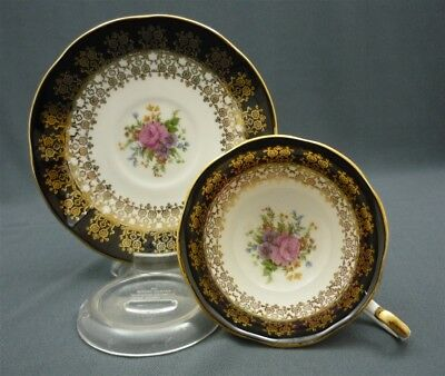 Wide Hand Painted Black Gold Queen's MONARCH English Bone China Teacup & Saucer