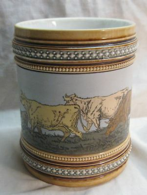 Antique Or Vintage Mettlach Jar With Cow Design Stein Go-With Item