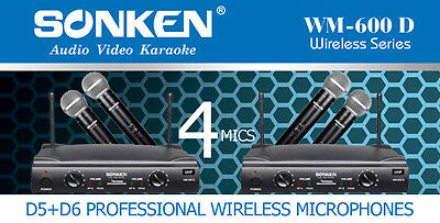 Professional Uhf Wireless Microphones - 4 Microphones