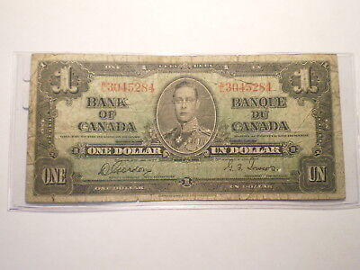 1937 $1 Note Bank Of Canada/ Folds, Staining