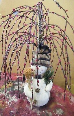 """Burgundy Pip Berry 18"""" Willow Tree Snowflake Country 12"""" snowman berries decor"""