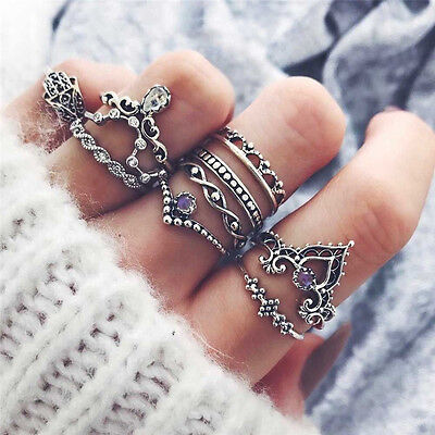 10Pcs/Set Fashion Retro Arrow Moon Midi Finger Knuckle Rings Boho Jewelry Gift