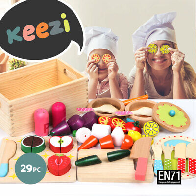 29pc Wooden Vegetables Fruit Set Cutting Toy Kids Kitchen Cooking Utensils Play