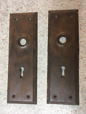 LOT Pair Vintage Door Lock Backplate Steel Skeleton Key Hole Plate Matching Set