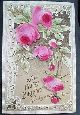Antique POSTCARD Birthday c1910, Unusual With Felt Roses, Victorian Card #7