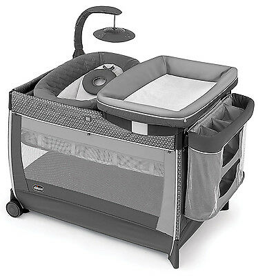 Chicco Lullaby Glow Newborn Napper Bassinet Playard Changing Station Silhouette