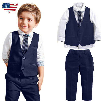 Kid Boy Gentleman Wedding Party Suits Shirt+Waistcoat+Long Pants+Tie Clothes Set