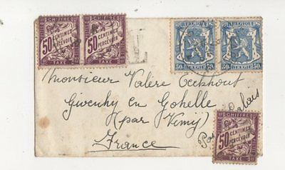 Belgian Cover 1893 Series France Postage Due Stamps Posted 1938 397b