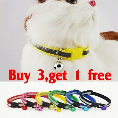 Adjustable Reflective 0 Nylon Cat Safety Collar with Bell for Kitten Cat
