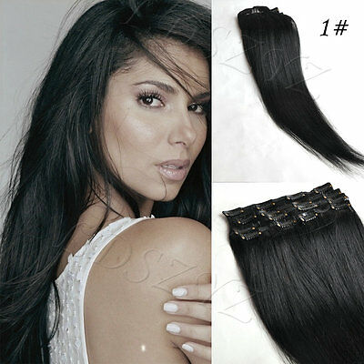 Full Head 100% Tape in Human Hair Extension 16-24inch 30g-70g #1B Natural Black