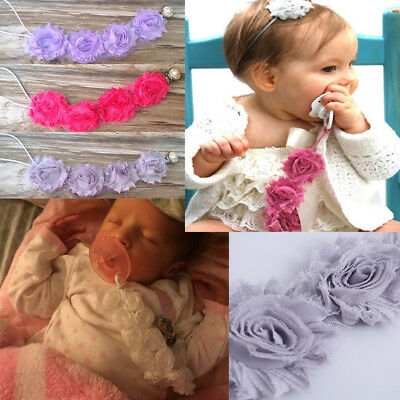 Baby Infant Pacifier Soother Nipple Flower Diamond Strap Chain Clip Holder Pink