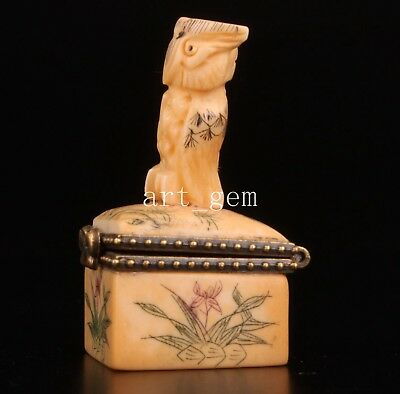 Old Cattle Bone Carved Unusual Statue Owl Snuff Box Collectable