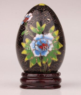 Cloisonne Egg Statue Handmade Enamel Flowers Decorated With Collectable