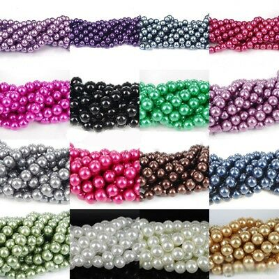 Wholesale Glass Pearl Round Spacer Loose Beads DIY 4/6mm/8mm/10mm/12mm/14mm/16mm