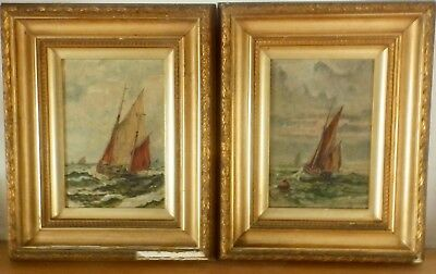 Reduced Charming Pair 19th C English School Oil on 'Off The Coast' Signed SP
