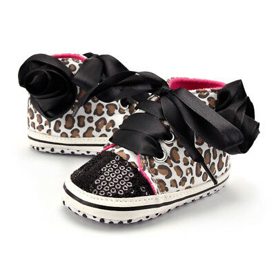 Toddler Infant Baby Girl Sole Sequins Leopard Crib Shoes 0-18 Months--Size 11