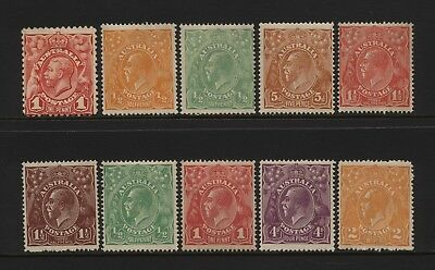 Australia Collection 10 KGV Stamps (Unsorted wmks / Perfs) Mounted Mint