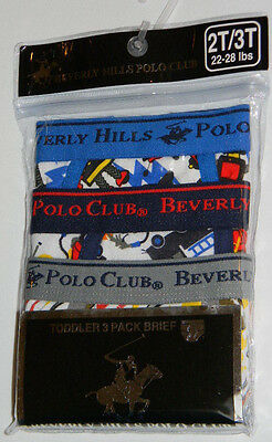 New Beverly Hills Polo Club Sports Blue Gray Toddler Boys Briefs Underwear 2T 3T