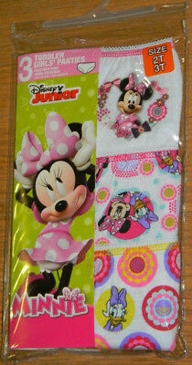 New Disney Junior Minnie Mouse Daisy Flower Toddler Girl Panties Underwear 2T 3T