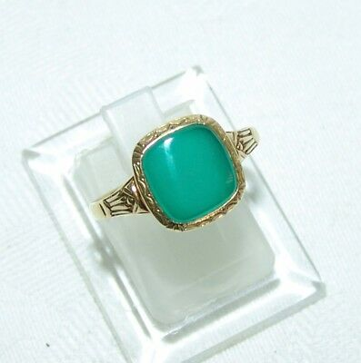 Alter Ring um 1920 Jugendstil Art Deco Gold 585 und Chrysopras (?)