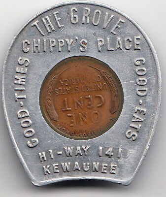 Kewaunee WI encased 1935 cent - The Grove - Chippy's Place - Good Times Eats