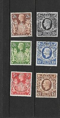 KGVI - 1939-48 - High Values - 2/6d to £1 - 6 values -used