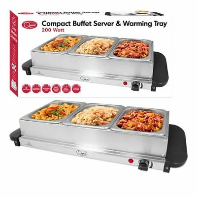 Quest Compact Buffet Server 200w Hotplate Warming Tray Party Dinner Food Ba