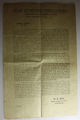 Head Quarters Fifth Divison - General Orders No.73 - Major H.E.Ely - Nov.11,1918