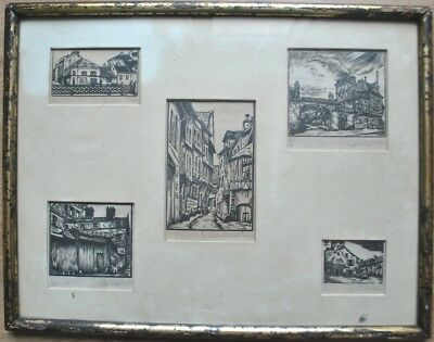 Tableau de 6 Gravures Architecture Vieux Paris sign main G Delatousche 1898-1966