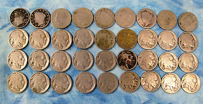 36 Old Liberty and Buffalo Nickels.   A-4976