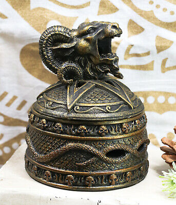 Satanic Sabbatic Goat Baphomet Backflow Incense Cone Burner Statue Secret Box