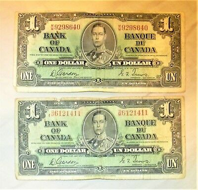 Bank of Canada 2 One Dollar Notes  1937