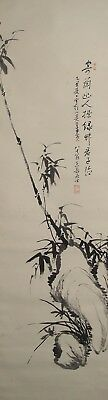 #8392 Japanese Hanging Scroll: Bamboo & Orchid