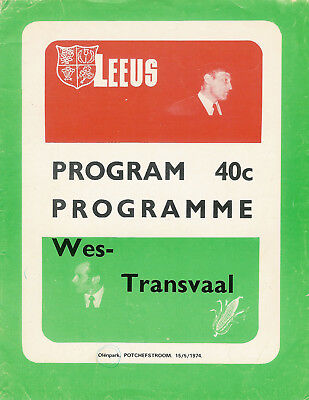 British Lions v Western Transvaal 15 May 1974 RUGBY PROGRAMME