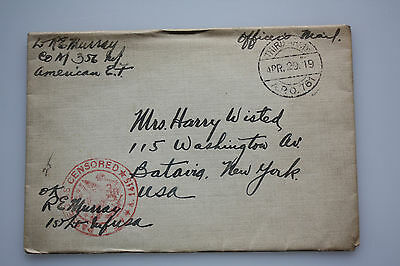 Third Army WK I - Officers Mail - Beleg  A.P.O. 761 - Apr.29.19 auf Batavia N.Y.